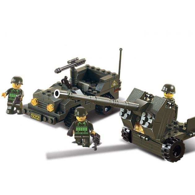 Конструктор сухопутные войска зенитное орудие и джип Sluban M38-B5900