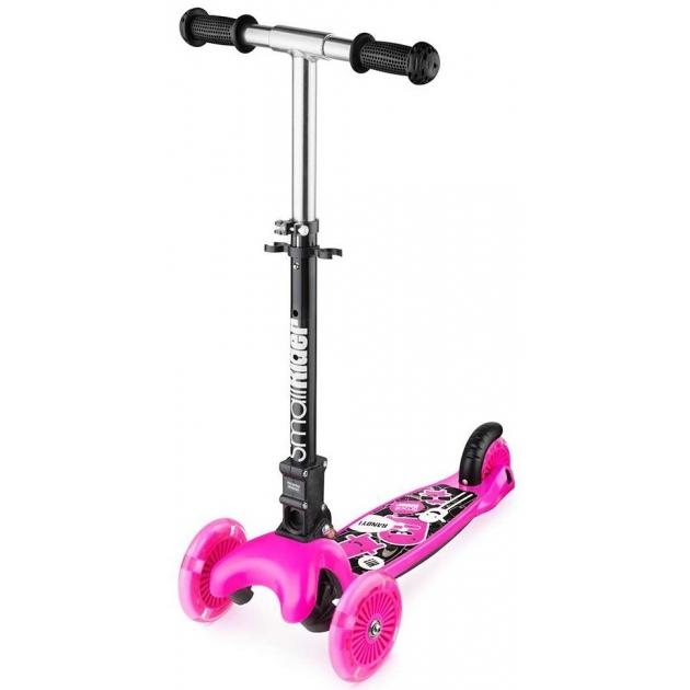 Трехколесный самокат с 3 светящимися колесами Small rider randy flash розовый