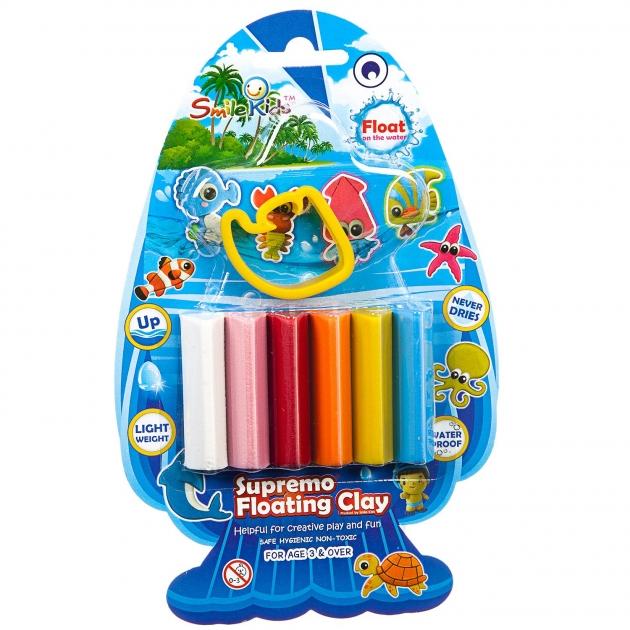 Набор плавающего пластилина с формочкой рыбка Smile Kids SK-FC50M/6C_рыбка