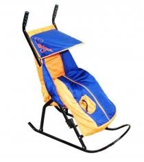 Санки коляски Скользяшки Снегурочка 1 синий оранжевый