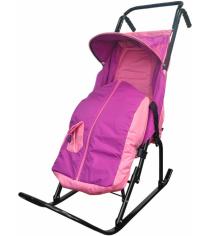 Санки коляска Скользяшки Снегурочка 2 розово фиолетовый