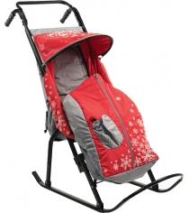 Санки коляска Скользяшки Снегурочка 1 Р1 серый красный