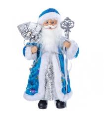 Дед мороз с подарками 30 см голубая шуба Snowmen Е96403