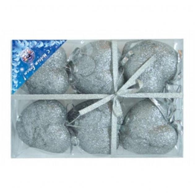 Набор из 6 елочных украшений сердце блестящая крошка 8 см Snowmen Е0015