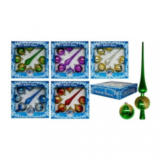 Набор наконечник для елки и новогодние шарики Snowmen Е0370