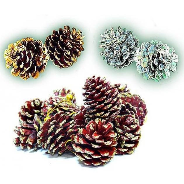 Набор из 12 блестящих елочных украшений шишки 5 см Snowmen Е0602