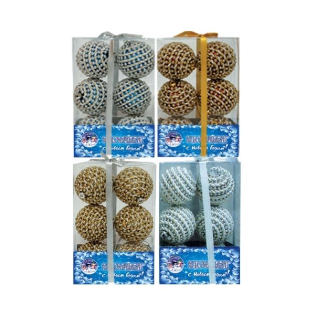 Набор из 6 новогодних шаров тесьма 6 см Snowmen Е40073