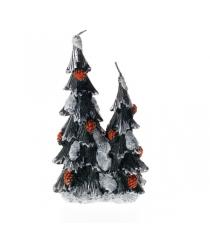 Новогодняя свеча две елки с коричневыми шишками Snowmen Е40424