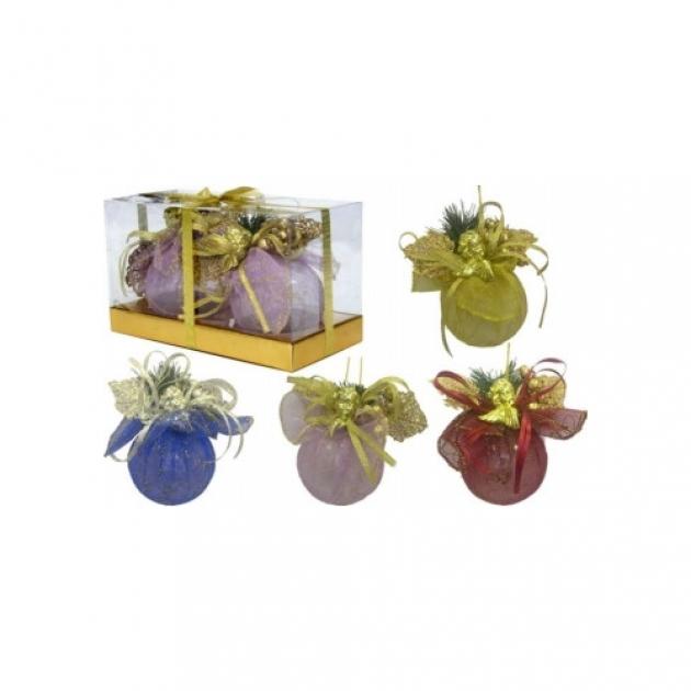 Набор новогодних шаров ручной работы в тканевом мешочке с ягодами 7 см Snowmen Е60102