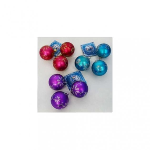 Набор из 3 х елочных игрушек шар с росписью 6 см Snowmen Е70252