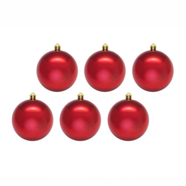 Набор из 6 елочных игрушек глянцевые шары красный 5 см Snowmen Е80188