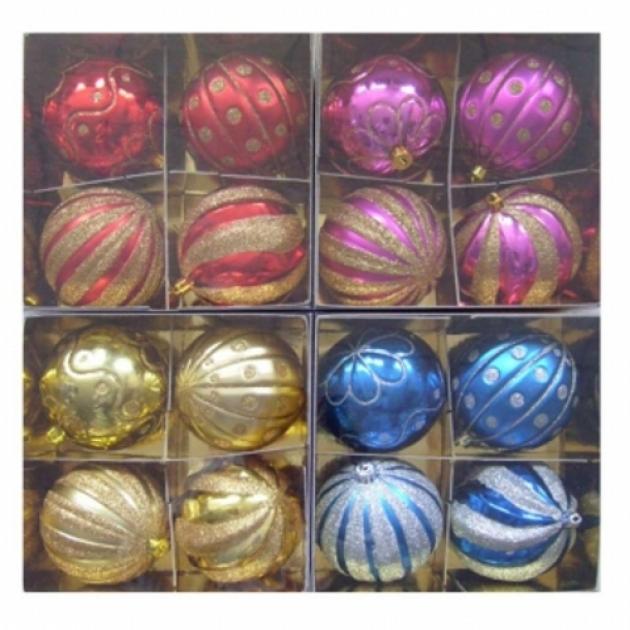 Новогодний набор из 4 елочных шаров с узором дольки 10 см Snowmen Е80231