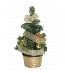 Новогодняя елка с украшениями в корзине 20 см Snowmen Е80387