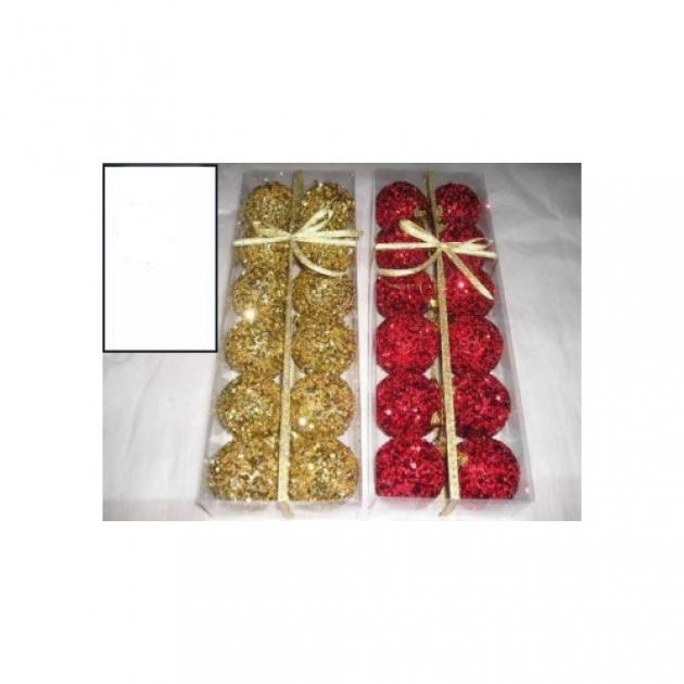 Набор новогодних шаров с блестками 6 см 12 шт Snowmen Е80765