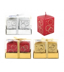 Новогодний набор из 2 блестящих квадратных свечей с узором 8 см Snowmen Е91119