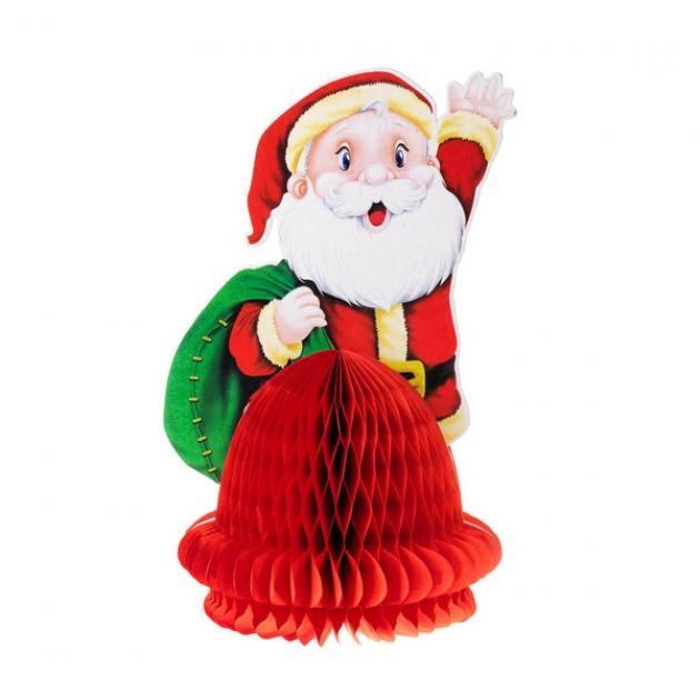 Бумажное новогоднее украшение санта со складной елкой 25 см Snowmen Е92217