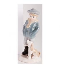 Новогодняя фигурная игрушка из керамики мальчик с собакой 19 см Snowmen Е92352