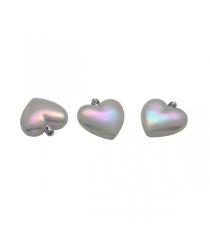 Набор из 3 фигурных елочных украшений сердца перламутровый 7 см Snowmen Е93109