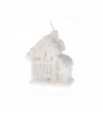 Новогодняя свеча белый домик 8 см Snowmen Е93246