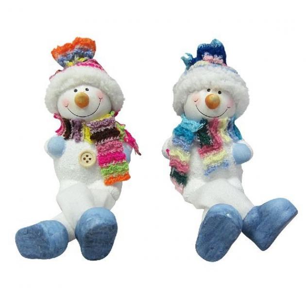 Новогодняя керамическая фигурка снеговичок с ножками 9 см Snowmen Е94579