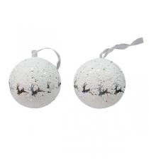 Набор из 3 х елочных украшений шар с оленями белый 8 см Snowmen Е94716