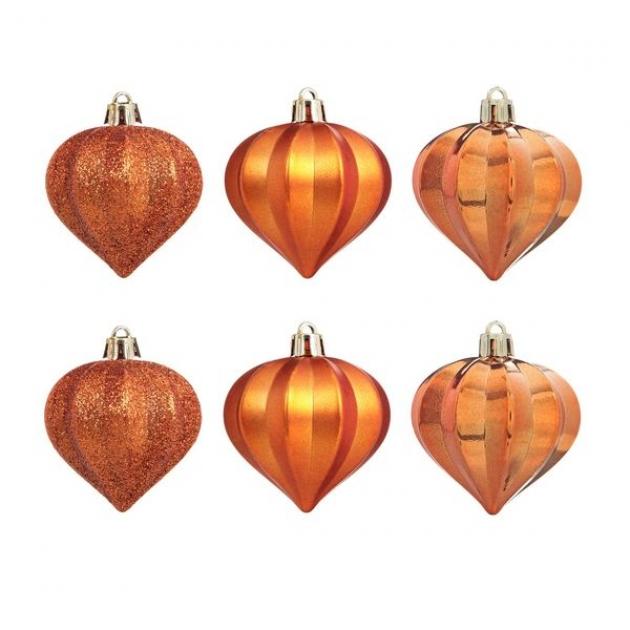 Набор из 6 новогодних украшений луковица оранжевый 6 см Snowmen Е96146