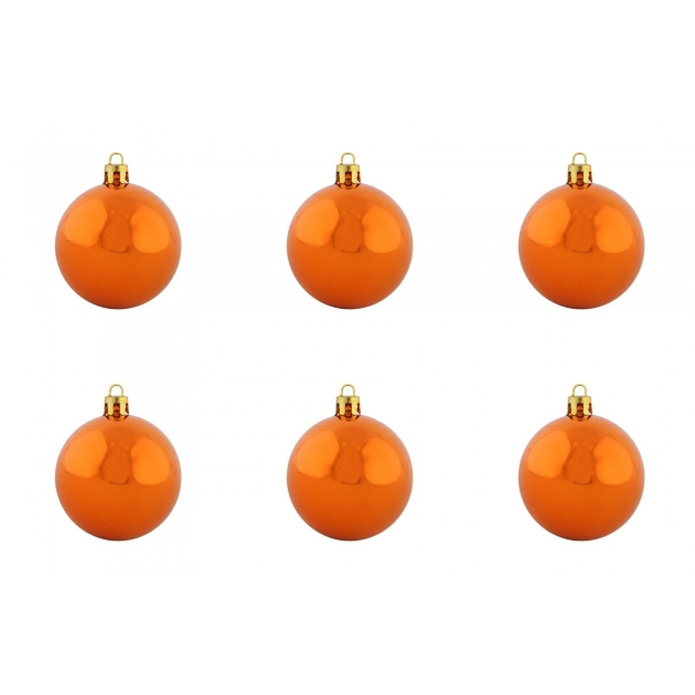 Набор из 6 блестящих елочных игрушек оранжевые шары 6 см Snowmen ЕК0282