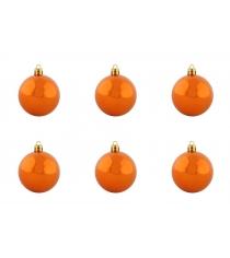 Новогодний набор из 6 блестящих елочных шаров оранжевый 8 см Snowmen ЕК0284