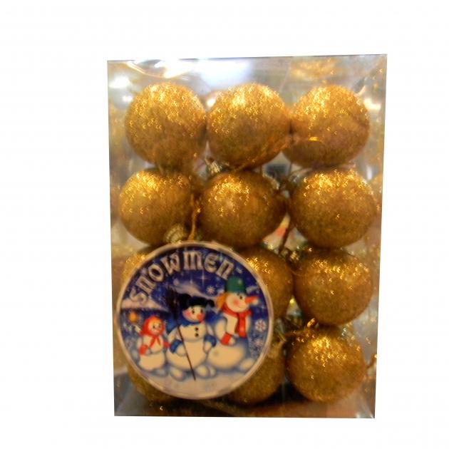 Набор елочных игрушек золотистый 4 см 24 шт Snowmen Е94740