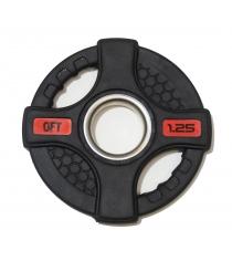 Диск олимпийский обрезиненный черный с двумя хватами 1 25 кг Original Fit Tools FT-2HGP-1,25