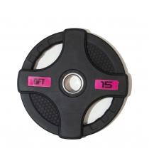 Диск олимпийский обрезиненный черный с двумя хватами 15 кг Original Fit Tools FT-2HGP-15