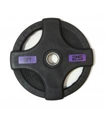 Диск олимпийский обрезиненный черный с двумя хватами 25 кг Original Fit Tools FT-2HGP-25