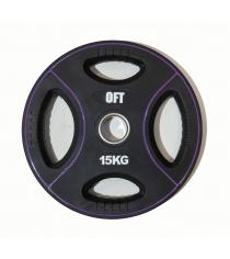 Диск для штанги олимпийский полиуретановый 15 кг Original Fit Tools FT-DPU-15