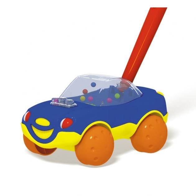 Игрушка каталка с ручкой машинка синяя Стеллар Р72151