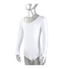 Купальник Evrosport гимнастический длинный рукав белый размер 36 ES-0167