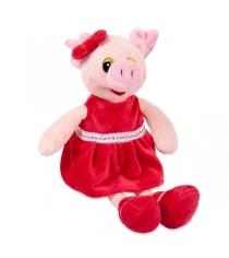 Мягкая игрушка свинка в красном платье 16 см Teddy toys 19470