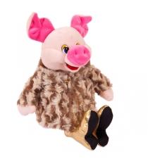 Мягкая игрушка свинка в шубке и золотых туфлях 17 см Teddy toys 19571