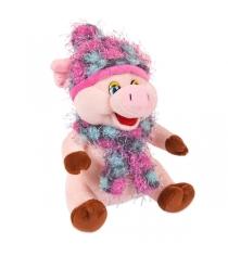 Мягкая игрушка свинка в розовой шапочке и шарфе 17 см Teddy toys 19747
