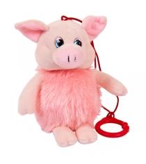 Мягкая игрушка свинка розовая с карабином 16 см Teddy toys 19758