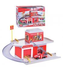 Гараж паркинг пожарная часть с машинкой Технопарк