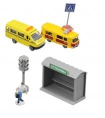 Набор с остановкой светофором и 2 машинами 7,5 см Технопарк