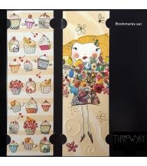Набор закладок для книг Turnowsky Пирожные с крыльями и Девочка с цветами BKDU100
