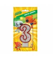 Свеча для торта мимимишки цифра 3 SVC-3-MMM