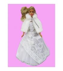 Одежда для кукол виана белое платье с меховой накидкой Виана 11.425