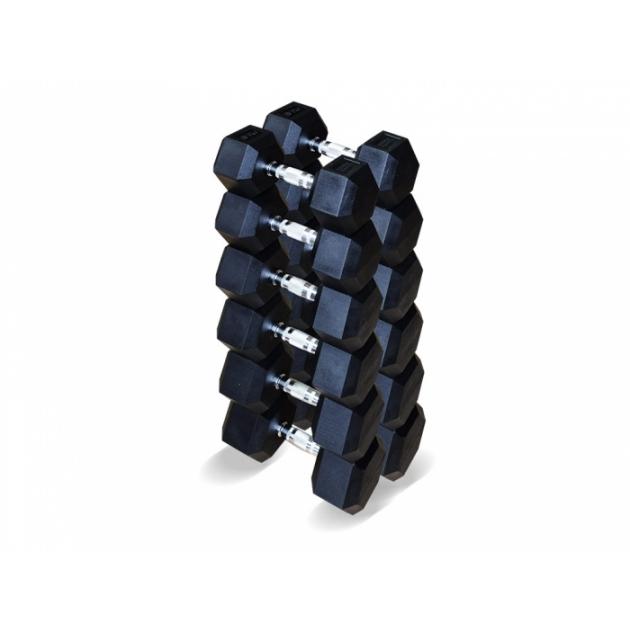 Набор гексагональных гантелей 6 пар от 12.5 до 25 кг