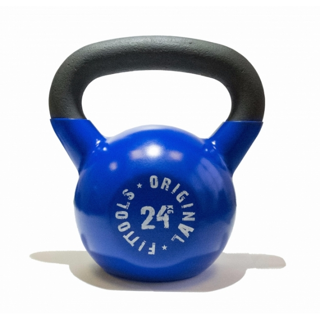 Обрезиненная гиря 24 кг синяя
