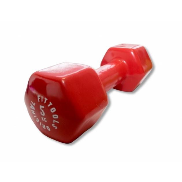Гантель в виниловой оболочке 5 кг красный