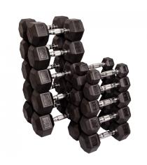 Набор гексагональных гантелей: 10 пар от 2.25 кг до 22.5 кг шаг 2.25 кг Body-Solid SDRS550