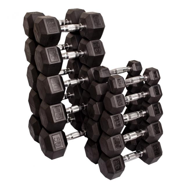 Набор гексагональных гантелей: 10 пар от 2.25 кг до 22.5 кг шаг 2.25 кг
