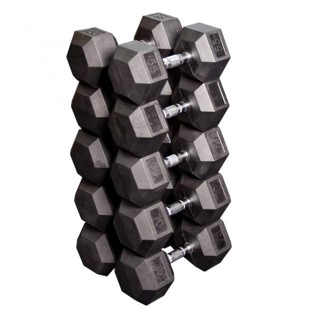 Набор гексагональных гантелей: 5 пар от 24.75 кг до 33.75 кг шаг 2.25 кг